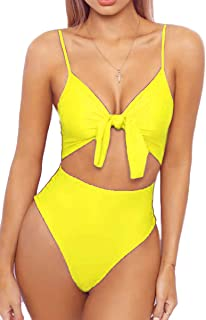 Womens Spaghetti Strap Tie Knot Front Cutout High Cut One Piece Swimsuit