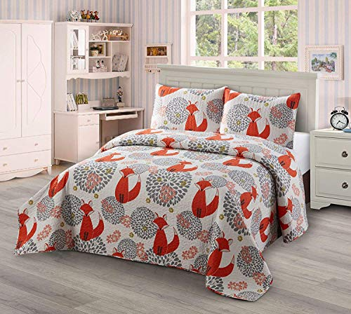 Luxury Home Collection Kids Toddlers Girls Coverlet Bedspread Quilt Set with Pillow Shams Multicolor Fun Printed Floral Style Fox Flowers (Twin/Twin XL)