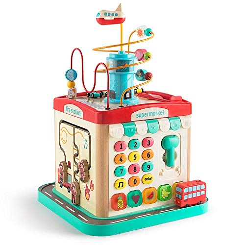 Yifuty London Bus City Tour Intelligence Box 1-3 Jahre alt Baby Early Education Multifunktionale Runde Wulst Puzzle Treasure Box Six-Side Box Spielzeug Schöne Action