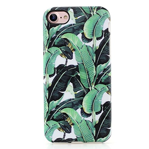 GOLINK iPhone 7 Case for Girls/iPhone 8 Floral Case, IMD Printing Slim-Fit Anti-Scratch Shock Proof Anti-Finger Print Flexible TPU Gel Case for iPhone 7/iPhone 8 - Banana Leaf