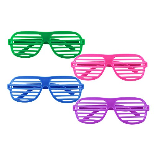 12 Pairs of Plastic Shutter Glasses for 80s Party Fun