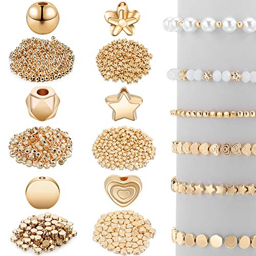 1200 Pieces Spacer Beads Set Star Beads Round Ball Beads Rondelle Faceted Spacer Beads Heart Beads Flower Beads Flat Disc Beads Loose Beads for Bracelet Earring Necklace Jewelry Making (Gold)