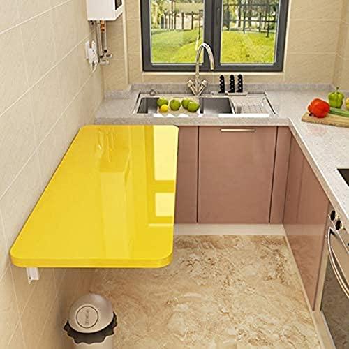 Mesa de la Mesa de Hojas de Gota de Pared, Mesa de Comedor de Madera Plegable, Amarillo/Blanco, 20 tamaños (Color : Yellow, Size : 50 * 30cm/19.69 * 11.81in)