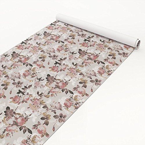 Apalis Klebefolie - Vintage Blumen-Muster mit Rosen - Selbstklebende Folie 50 x 100 cm