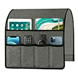 Joywell Sofa Armrest Organizer, Remote Control Holder for Recliner Couch, Arm Chair Caddy with 6 Velvet Pockets for Magazine, Tablet, Phone, iPad, Grey