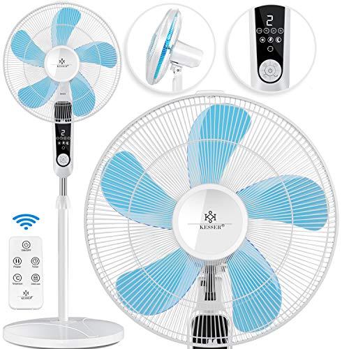 KESSER® - Standventilator mit Fernbedienung und Display Led - Timer leise Oszillation 80 Grad - 60 Watt - Ventilator höhenverstellbarer 115-134 cm - Kopf 35 Grad neigbar - 3 Geschwindigkeiten Weiß