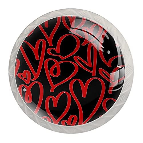 Juego de 4 pomos redondos para aparador, cajones de cocina, diseño de corazones de color rojo y negro