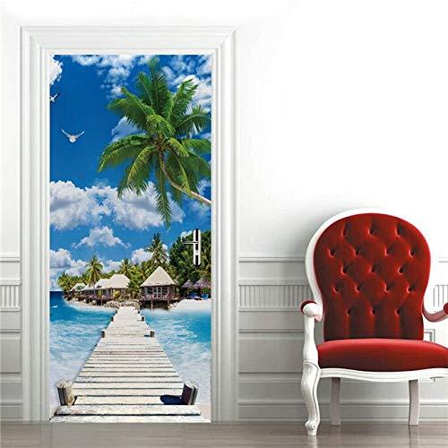 Cascata Paesaggio Sticker per Porta Poster Autoadesivo Adesivo Camera Da Letto Decorazione Carta Da Parati Giraffa Murale Home Decor A27 86x200 cm