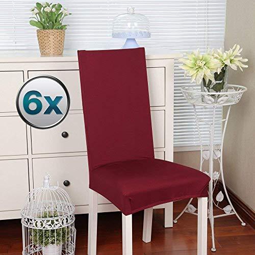 Fundas para sillas Pack de 4 Fundas sillas Comedor Fundas elásticas, Cubiertas para sillas,bielástico Extraíble Funda, Muy fácil de Limpiar, Duradera (Paquete de 6, Rojo Oscuro)