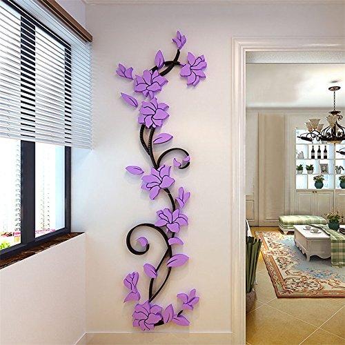 Elegant 3D Blume Rebe Wandtattoos Wandaufkleber Kristall Acryl Malen Wanddeko Wandkunst (Lila)