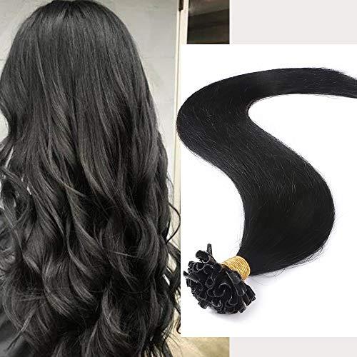 Extension Cheveux Naturel Keratine 0.5g - Rajout Cheveux Humain Pose à Chaud 100 Mèches (50cm-50g, 01 Noir)