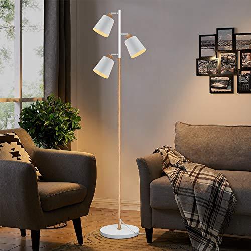 ZMH Modern Stehlampe Wohnzimmer mit 3 Flammig flexibler Hals und Augenpflege, für Schlafzimmer und Arbeitszimmer E27 Fassung je max 25W, Höhe: 166cm, Weiß und Holzfarbe, Standleuchte, Wohnzimmerlampe