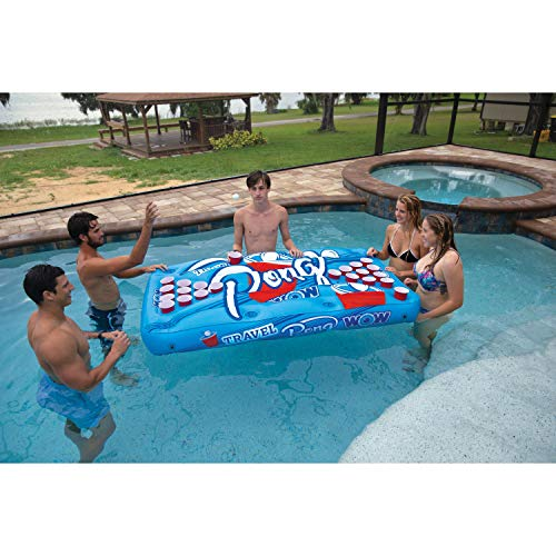 WOW Watersports Travel Pong 19-2020, Inflatable Floating Table with Cup Holders
