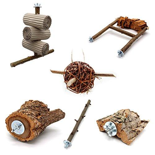 6 teiliges Schredder und Knabber Set für Vögel   Basisausstattung für Vogelhalter   Wellensittich Spielzeug   Vogelspielzeug Nymphensittich