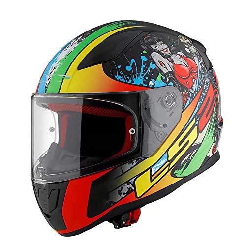 SMINNG Casco Integral para Motocicleta,Aprobado Dot/ECE Motocicleta, Ciclomotor con Visera Casco Integrado para Motocicleta,Adultos Hombres Cascos De Seguridad Montar C, XXL(63~64cm)