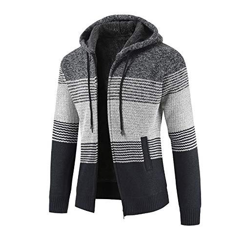 ZEZKT Chaquetas de otoño e invierno para hombres, nuevos suéteres de empalme que bloquean el color más suéteres de punto grueso de terciopelo, chaquetas de invierno cálidas y frías (Gris oscuro, XL)