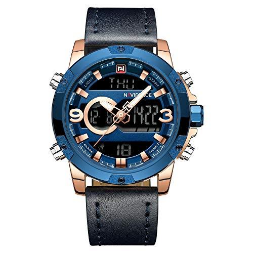 Reloj para Hombre con Pantalla analógica y Correa de Piel-C