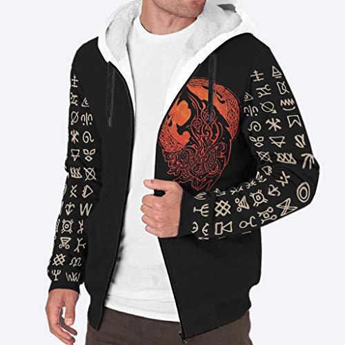 Sheeouis Mens Long Sleeve Full Zip Viking Wolf Print Fleece Sherpa Sweater Jacket Winter Warm Jacket Outwear Pullover with Pockets White XL