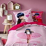 MIRACULOUS Ladybug Heroine Parure, 100% Coton, Rose, 140X200+63X63-taille française