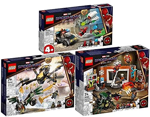 BRICKCOMPLETE Lego 76184 Mysterios - Juego de 3 ataques de dron en Spider-Man, 76185 Spider-Man en el taller de Sanctum y 76195 Spider-Man