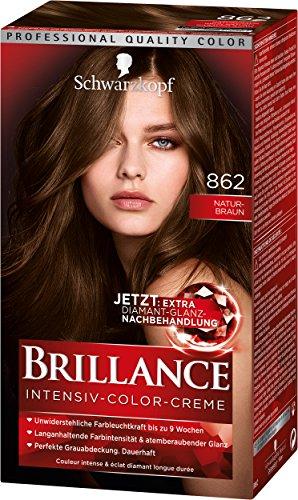 SCHWARZKOPF BRILLANCE Intensiv-Color-Creme 862 Naturbraun Stufe 3, mit extra Diamant-Glanz-Nachbehandlung, 3er Pack (3 x 143 ml)