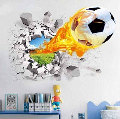 LZRLZR Football Through Wall Stickers Kids Room Decoration Home Decals Soccer Funs 3D Mural Art Sport Game PVC Poster
