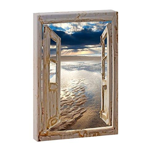Fensterblick - Ebbe an der Nordsee | Panoramabild im XXL Format | Trendiger Kunstdruck auf Leinwand | Hochformat oder Querformat (100 cm x 65 cm/Hochformat)