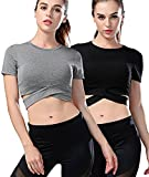 Campeak 2 Pack Women's Yoga Gym Crop Top Compression Workout Athletic Short Sleeve Tank T Shirt