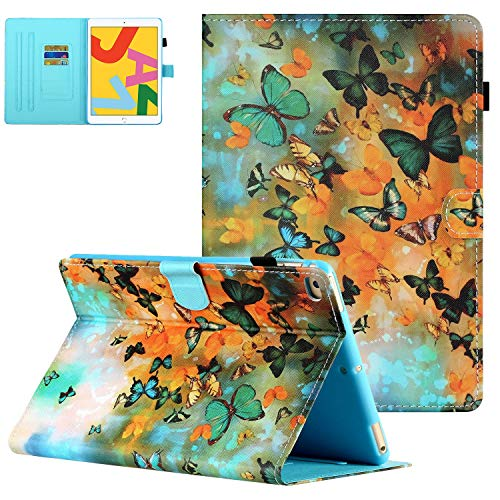 iPad Air 2/Air 1 Case, iPad 9.7 2018 2017 Case with Pencil Holder, UGOcase Folio Stand Full Protection Cover Auto Sleep Wake Wallet Case for iPad 6th/5th Gen 2018/2017, iPad Air 1 2 - Green Butterfly