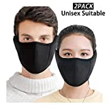E-jades Black Half Face Airsoft Mask for Men Women Unisex Running,Cycling,Bicycle,Motorcycle,Skiing,Snowboard -2Pack, Nose and Mouth Windproof Mask Facemask Balaclava for Outdoor, Airsoft Earmuffs