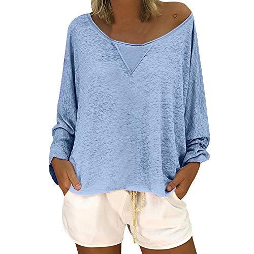 OSYARD Damen Baumwolle Lockere Bluse, Frauen Mode LäSsige Lockere Bluse Lange ÄRmel Schaufel Hals Solid Color Shirt Tops Pullover (XL, Hellblau)