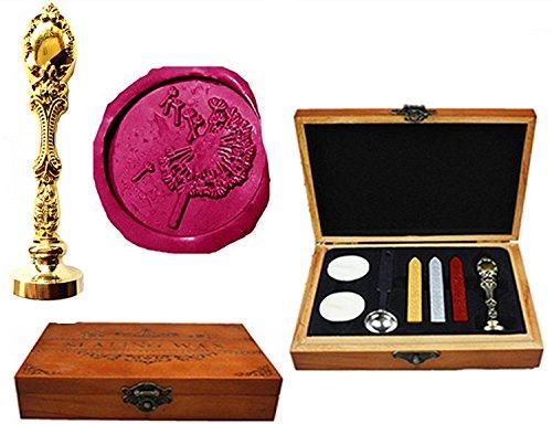 MNYR paardebloem luxe houten doos brons metalen pauw bruiloft uitnodigingen geschenkkaarten papier stationaire envelop afdichtingen op maat Logo Wax afdichting stempel Wax stokken smelten lepel hout geschenkdoos set Goud