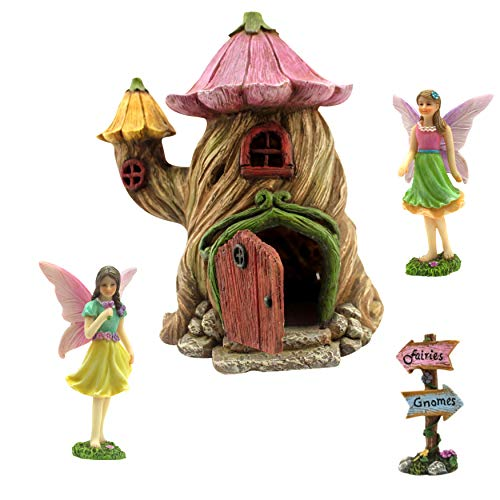 Casa de jardín de hadas en miniatura. Kit de accesorios y hadas. Casa de 18cm de altura. La...