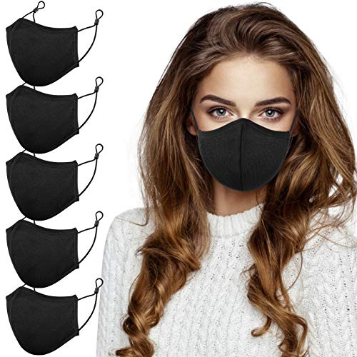 Face Masks Reusable Washable with Metal Nose Wire Clip, 3 Ply, Adjustable Earloops, 5PCS Black Protective Cotton Cloth Face Covering Masks, Comfortable Breathable for Adults, Men, Women, Sports