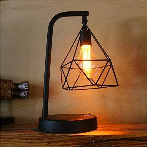 Lámpara de escritorio LED de hierro hecha a mano minimalista brillante creativa Luz de noche LED con diseño ahuecado Cuerpo de lámpara hecho de hierro para decoración de dormitorio Novia Novio