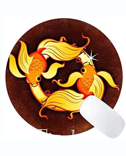 Runde Mausunterlage personalisiert, Fisch-Tierkreis-Konstellations-Astrologie-Themen der runden Mausunterlage mit genähtem Rand