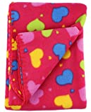 Soft Fleece Receiving Baby Blanket 30x30 Inches by bogo Brands Pink Hearts