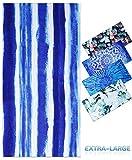 Genovega Microfiber Beach Towel Oversize, Extra Large 74'x36', Stripe Blue Fast Quick Dry,Cool Travel Pool Towel, Ideal Gift for Women Men, Mom Dad, Best Friend Boyfriend Girlfriend