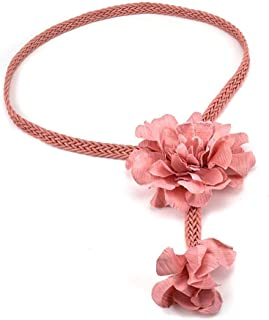 LUKEEXIN Women's Fashion Handmade Wax Rope Woven Flower Belt (Color : Pink)