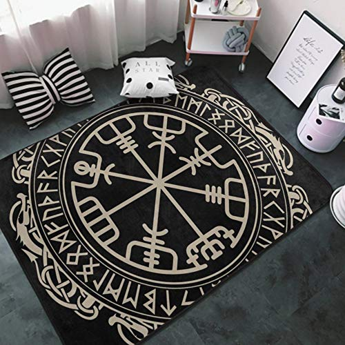Luxury Area Rugs Thick Anti-Slip Kids Play Mats Floor Carpet, Black Celtic Viking Design Magical Runic Compass Vegvisir in The Circle of Norse Runes and Dragons Tattoo Decorative, 3 x 5 Feet