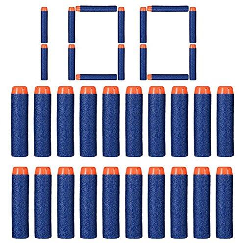 Recarga de Dardos Refill Bullet Dardos de Espuma para Nerf N-Strike Elite Series Blasters Pistola de Juguete Azul (100 Piezas)