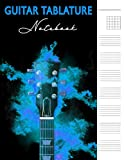 Guitar Tablature Notebook: 6 String Guitar Chord Manuscript Staff Paper For Music Notes, Blank Music Sheet Tabs Journal, Acoustic Player Bass Strings ... Songwriters, Neon Blue Flame Abstract Design