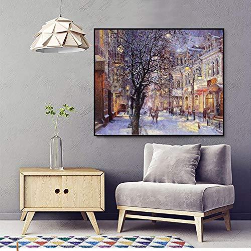 YIYEBAOFU DIY Malen nach Zahlen Straßenblick im Schnee Mit Pinsel und Acrylfarbe Erwachsenenfarbe nach Zahlen Kits Kunstwerk Geeignet für Wohnzimmerdekoration für Kinder,40x50cm(Kein Rahmen)