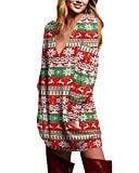ZANZEA Mujer Jersey Navidad Tallas Grandes Vestidos Sudadera Cuello V Manga Larga Casual Suéter Suelta Camiseta 04-Rojo Verde L
