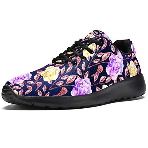 Zapatillas deportivas para correr para mujer, diseño floral, de malla, transpirables, para senderismo, tenis, color, talla 38 EU