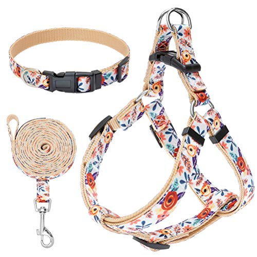 No Pull Dog Harness and Leash Set with Collar - Heavy Duty & Adjustable Basic Harness for Small Medium Dogs & Cats