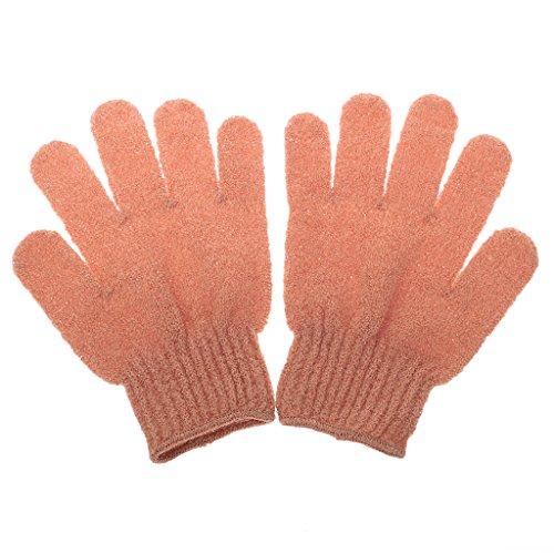 1 Paire Gant de Bain Exfoliant Soins de La Peau Massage Nettoyage Douche - Orange