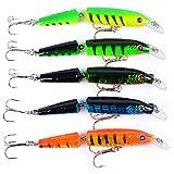 Isuper 5 Colores Pesca Crankbaits señuelos de plástico articulado Multi-Cebo Kits adecuados para la mar, río, Lago, la Trucha, el Lucio, la Perca, la Carpa y la lucioperca