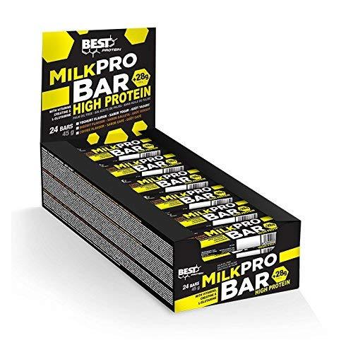 Best Protein MilkPro Bar, Barrita proteica con Sabor Yogur, 24 Unidades