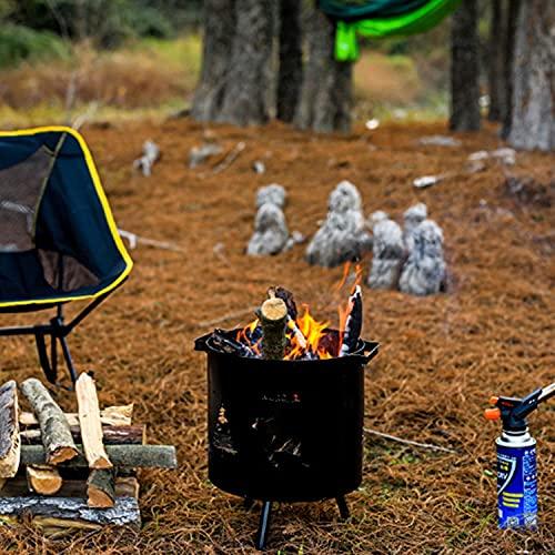Chimenea portátil de madera al aire libre, hogueras redondas de hierro forjado, calentador de metal duradero para patio, patio, jardín, playa, camping, parque, calefacción negra